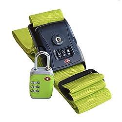 Koffergurt farbig & Kofferschloss TSA zertifiziert – Reise-Set aus Gepäckgurt und Zahlenschloss (grün) von Globeproof®