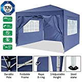 Garten 3X3M Wasserdicht Pavillon Partyzelt/Faltpavillon/Gartenpavillon/Gartenlauben/Party-Und Festzelt/Camping-Und Festival-Zelt/Hochzeit mit 4 Seitenteilen/Seitenwänden (Blau)