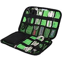 Extsud® Utile Organizer per Cavi Hard Disk Chiavette USB, Custodia da Viaggio Porta Accessori Elettronici, Borsa Impermeabile in Nylon Tasche a Rete Fascette Elastiche 22,6x15,7cm