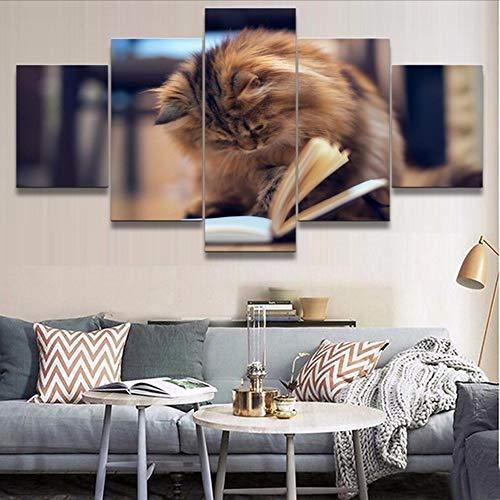 Fbhfbh Modulare Bilder Hd Drucke Leinwand Tier Katze Malerei 5 Stücke Schöne Wohnkultur Für Kinderzimmer Kreative Wandkunst Kunstwerk Poster, 12X16 / 24/32 Zoll, Ohne Rahmen