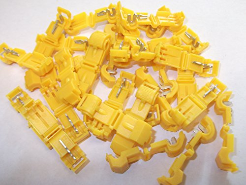 30 x Yellow Scotchlok Terminals Connectors Quick Splice Snap Click Male Tab Spade Connection Crimp Wire 10 - 12AWG 3.0mm - 6.0mm Snap Tab