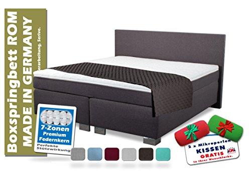Boxspringbett ROM II 140x200 cm Anthrazit, Dunkelgrau. Exzellenter Schlafkomfort, Manufaktur Design. Härtegrad H2 und H3 frei wählbar 140 x 200 cm.