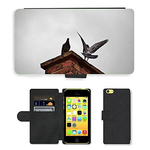 Just Mobile pour Hot Style Téléphone portable étui portefeuille en cuir PU avec fente pour carte//m00140023Cheminée Fly oiseaux Pigeon/Oiseau/Apple iPhone 5C
