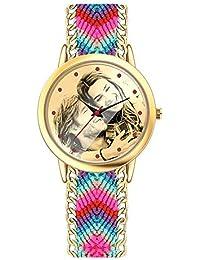 f9d88a525847 SOUFEEL Reloj Personalizado Foto Banda Nylon Ajustable Impermeable  Ultra-Delgada Regalo para Familia Mujer Novia