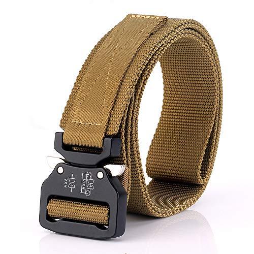 ITIEZY Herren Taktischer Gürtel Kobra Militär Verstellbarer Textil Nylon-Gürtel 3.8cm Breite mit Heavy Duty Metallschnalle, Braun, Länge: 125cm (49.21 inches) -