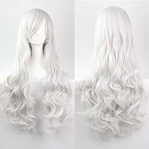 Donne delle ragazze delle signore 80cm Argento Colore Bianco lunghe parrucche ricce di alta qualità dei capelli Carve Cosplay Anime di Bangs completa sexy Parrucche