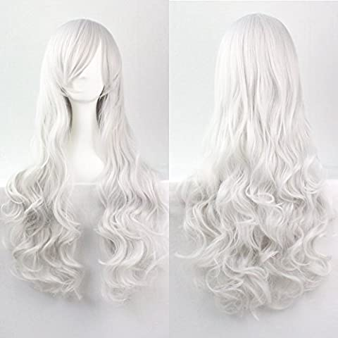 Womens Ladies Girls 80cm Silver White Color Long Curly Wigs High Quality Hair Carve Cosplay (Lunga Parrucca Cosplay)