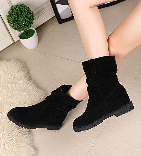 Minetom Donna Autunno Inverno Moda Martin Boots Elegante Casuale Piatta Scarpe Stivali Slouchy Stivali Da Neve Nero