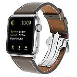 XIHAMA für Apple Watch Serie 4 Armband, Leder Sport Ersatz Band Armband mit Butterfly Verschluss für iWatch 42mm / 44mm Serie 3 2 1