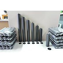 Pack 6 PATAS cilíndricas METALICAS 20cm altura especial, ANTIRUIDO para BASE TAPIZADA o SOMIER. Montaje rápido y fácil