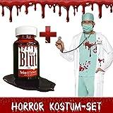 Horror Kostüm-Set Zombie Arzt blutverschmiert - Halloween Fasching Karneval Herren-Kostüm Blut (Medium)