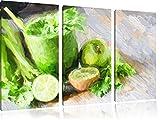 leckerer grüner Cocktail3-Teiler Leinwandbild 120x80 Bild auf Leinwand, XXL riesige Bilder fertig gerahmt mit Keilrahmen, Kunstdruck auf Wandbild mit Rahmen, gänstiger als Gemälde oder Ölbild, kein Poster oder Plakat