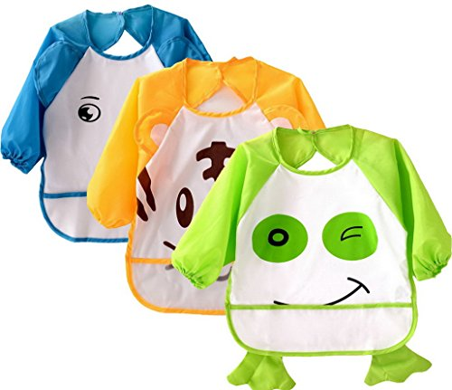 evedaily-baby-child-apron-bibs-smock-set-with-long-sleeve-for-feeding-eat-paint-play-waterproof-soft