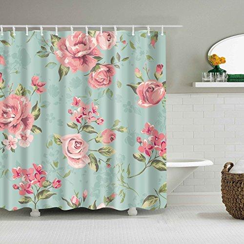 Duschvorhang Rosa (Badezimmer Duschvorhang, Top Qualität Anti-Schimmel Duschvorhänge Digitaldruck inkl. 12 Duschvorhangringe, 180x180cm (Rosa Rose Blume mit Blättern))