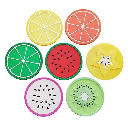 DAISTERN 7er Set Frucht Tassenuntersetzer Glasuntersetzer Tischuntersetzer aus Silikon, Schutz für Tisch und Bar, Durchmesser: 9cm (9 Stück Runder Esstisch Set)