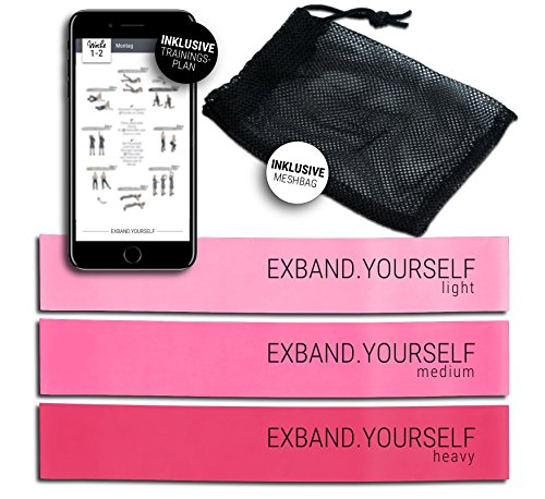 Exband Yourself Mini Resistance Bänder Set in Rosa/Pink - Fitnessbänder für Frauen, Optimal für Fitness, z.B. Krafttraining, Crossfit, Yoga und Pilates. INKLUSIVE Trainingsprogramm