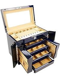 Meydlee Holz Schmuck Truhen-große Kapazitäts-Handgefertigte Holz Schmuck-Box Organizer mit großem Spiegel-Safe-Lock and Key Mehrzweckaufbewahrungsraum Kommode mit 4 Schubladen Slide-2 Kleine seitliche Schränke