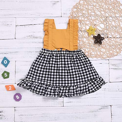 CAOQAO Ragazzi Ragazze Abbigliamento Bambino Moda Infantile Senza Maniche Cinghia Ruffle Ruffle Plaid Princess Dress/Giallo /70-110