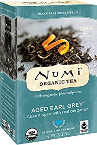 Numi Organic Tea Aged Earl Grey, Full Leaf Black Tea, 18 Count Tea Bags (Pack of 3)