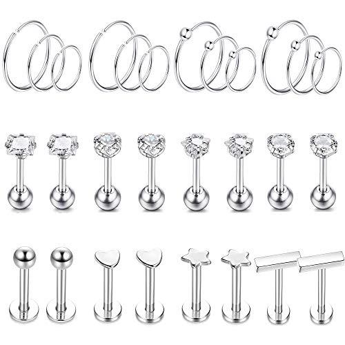 YADOCA 14 Pairs Edelstahl Ohrringe Für Frauen Mädchen Cz Lippenring Knorpel Helix Tragus Nasenpiercing Ohrringe Silber Creolen Set