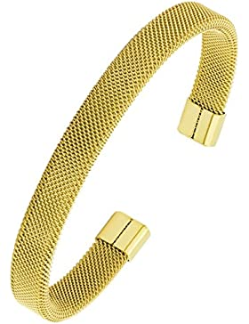 Slim Mesh 18K vergoldet 316L chirurgischer Edelstahl gratis Größe Manschette Kristallsteinen Armreif Armband...
