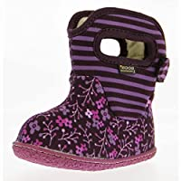 Baby / Infants BOGS - Waterproof, Floral Stripe Design Boots with Neo-Tech Insulation, Plush Lining and Easy Pull On Handles