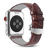 Fintie Armband für Apple Watch 44mm/42mm Series 4/3/2/1 - Uhrarmband aus Echtleder Ersatzband mit Schmetterlingsschnalle, Braun