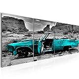 Bilder Auto Grand Canyon Wandbild 160 x 50 cm Vlies - Leinwand Bild XXL Format Wandbilder Wohnzimmer Wohnung Deko Kunstdrucke Blau 4 Teilig - MADE IN GERMANY - Fertig zum Aufhängen 602246b
