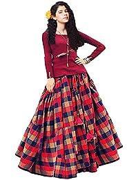 Clickedia Girl's Cotton Silk Lehenga Choli (Maroon, Red and Blue Checks, 8-12 Years)