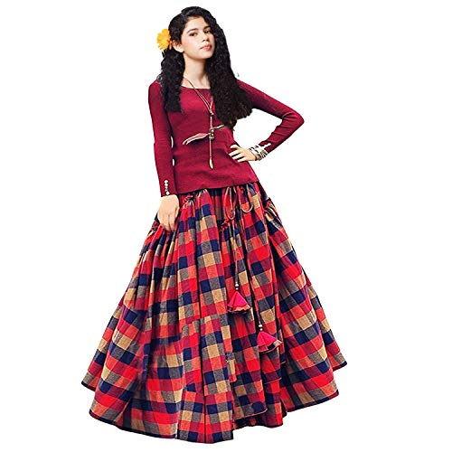 Clickedia Girl\'s Cotton Silk Lehenga Choli (Maroon, Red and Blue Checks, 8-12 Years)