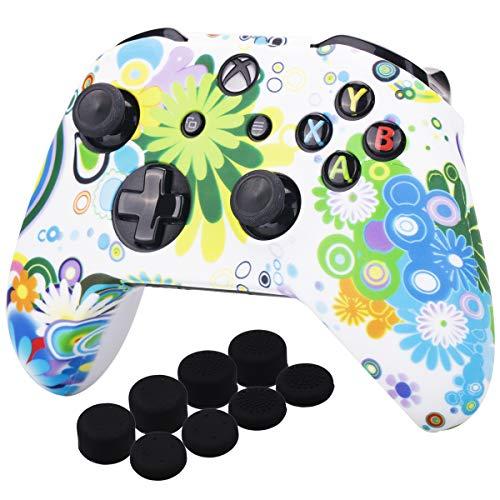 YoRHa Druck Gummi Silikon Hülle Skin Taschen für Xbox One S/X Controller x 1 (Runden& Weiß) Mit Pro Daumengriffe Aufsätze Joystick-Kappen Thumb Grip x 8