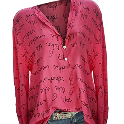 Chemis Femmes Col V Button Haut Manches Longues Impression De Lettre Tops Plus Size Pull BasiqueSANFASHION(Rouge,44FR/L)