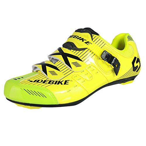 Fastar da uomo professionale traspirante scarpe da ciclismo Road Race Road bike scarpe mountain bike running scarpe (EU 41-45) Giallo