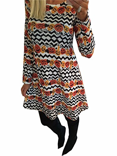 Frauen-Halloween-Kleid-lange Hülsen-Kürbis und Wellen-Druck Halloween-Flared-Schwingen-Kleid-Schwarz-Minikleid