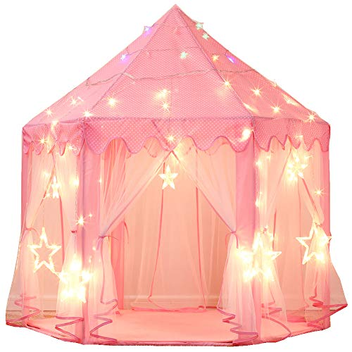 Sumbababy Princess Castle Play Tent Large Kids Play House with Star Lights Girls Pink Play Tents Toy for Indoor & Outdoor Games (Pink)