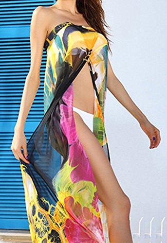 Femme Mousseline Bikini Cover Up Robe Longue Plage Maillot de Bain Paréos Cache-Maillots et Sarongs Imprimé Jaune