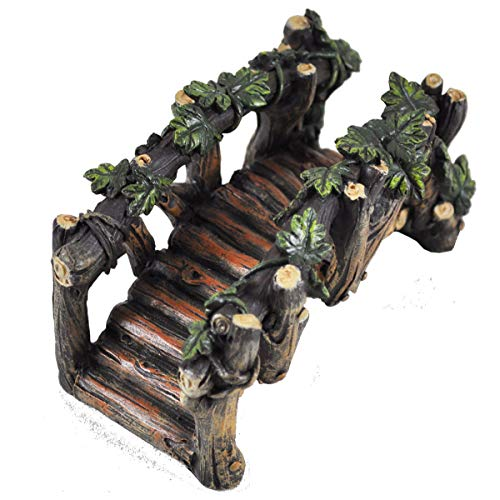 Jardín de hadas miniatura de Reino Unido Puente de madera para jardín...