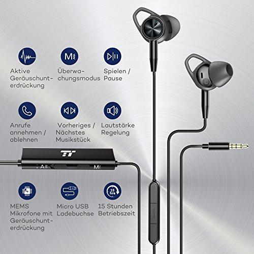 Noise Cancelling Kopfhörer TaoTronics In Ear Ohrhörer mit Rauschunterdrückung verstärkter Wahrnehmung Überwachungsmodus, ANC MEMS Mikrofon und erstklassisches Aluminium in mattschwarzer Ausführung - 3