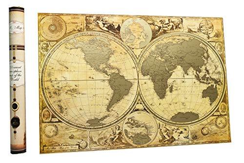 (Anchient Geschichte Welt Scratch Map Off 41,9x 61cm Halbkugel Timeline Karte die alten frühen Wandkarte von mymap Premium Paket Geschenk glänzend und Gold)