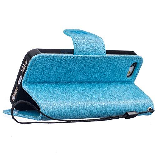 Custodia iPhone 5S,SainCat Custodia in pelle Protettiva Flip Cover per iPhone SE,Anti-Scratch Protettiva Caso Elegante Creativa Dipinto Pattern Design PU Leather Flip Ultra Slim Sottile Morbida Portaf azzurro