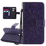 ISAKEN Compatibile con LG Nexus 5X Custodia[PU Pelle] [Shock-Absorption], Libro Flip Cover Portafoglio Case Tinta Unita Caso con Supporto di Stand/Carte Slot/Magnetica - Girasole: Violet