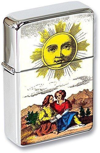 Tarot ( le soleil, The Sun) Mechero con tapa EN UNA LATA DE REGALO