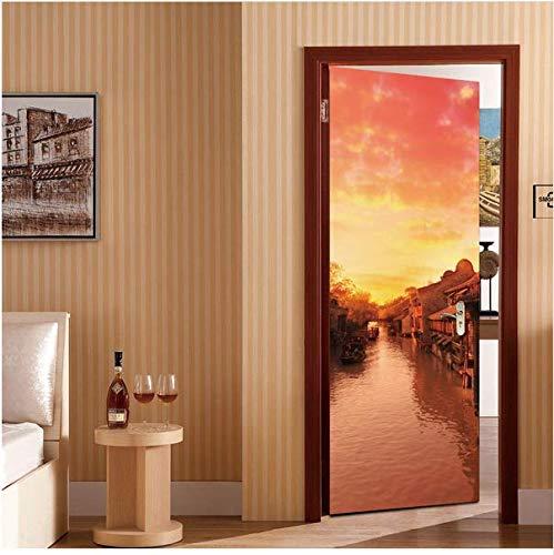 Newberli Untergehende Sonne Szene Diy Tür Aufkleber Aufkleber Kühlschrank Aufkleber Küchenschrank Dekoration Kunst Dekor Abziehbilder Für Tür Schaufenster