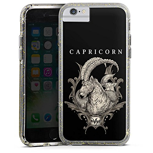 Apple iPhone 7 Bumper Hülle Bumper Case Glitzer Hülle Steinbock Sternzeichen Astrologie Bumper Case Glitzer gold