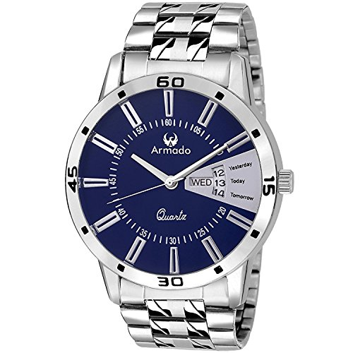 Armado AR-096 Exclusive Day & Date Display Analog Blue Dial Stainless Steel Men's Watch image - Kerala Online Shopping