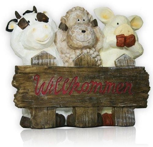 Panneau de bienvenue Décoration de jardin Vache Mouton Cochon