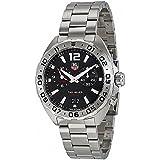 Tag Heuer Men's Steel Bracelet & Case Sapphire Crystal Swiss Quartz Black Dial Analog Watch WAZ111A.BA0875