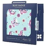Blue Badge Company - Porta permesso di parcheggio e disco orario a portafoglio, motivo: farfalle, colore: Acqua