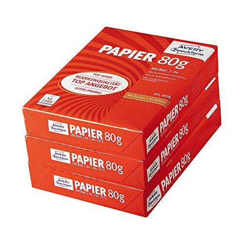 Avery Zweckform 2575 Druckerpapier, Kopierpapier, DIN A4 Papier, 80 g/m², 3 Pack (1.500 Blatt), alle Drucker, weiß