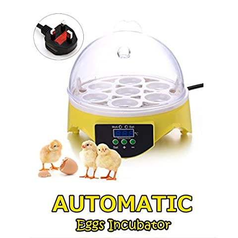 7 Eggs Mini Digital Incubator Hatcher Machine Automatic Temperature Control for Chicken Goose Duck Poultry (Yellow and Clear-UK